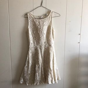 off white (cream) lace sleeveless dress